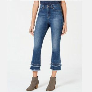 NWT Style & Co. Studded-Tiered Cropped Jean #3509